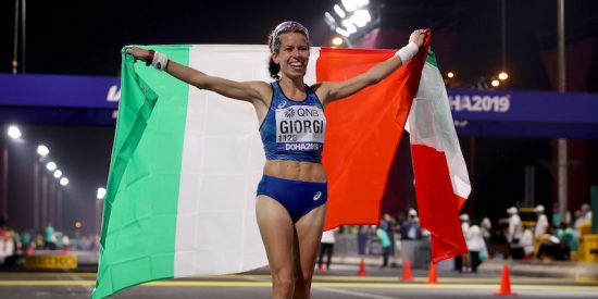 DOHA, QATAR - SEPTEMBER 28:  Eleonora Anna Giorgi of Italy celebrates finishing third in the Women's 50km Race Walk final during day two of 17th IAAF World Athletics Championships Doha 2019 on September 28, 2019 in Doha, Qatar.  (Photo by Christian Petersen/Getty Images)