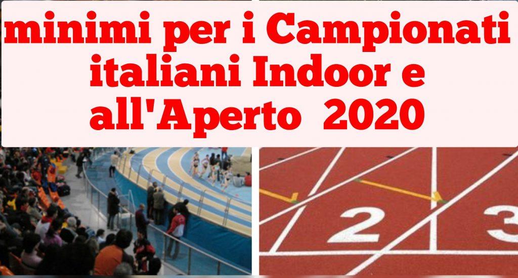Ecco i minimi per i Campionati italiani Indoor e all'Aperto del 2020