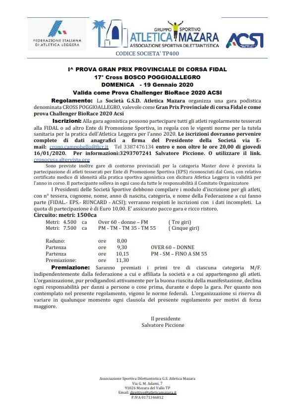 Parte la stagione agonistica BioRace 2020 con la 17^ edizione del Cross Bosco POGGIOALLEGRO a Mazara del Vallo