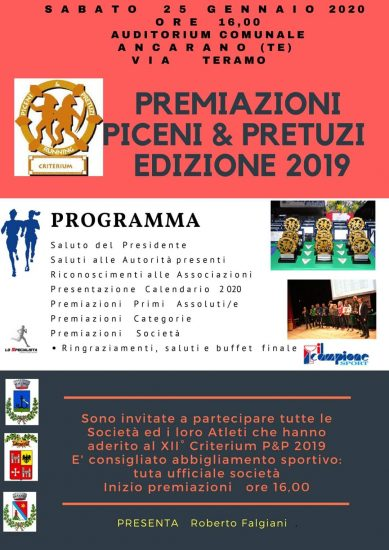 Podismo -- Criterium Piceni&Pretuzi, ad Ancarano la festa finale sabato 25 gennaio