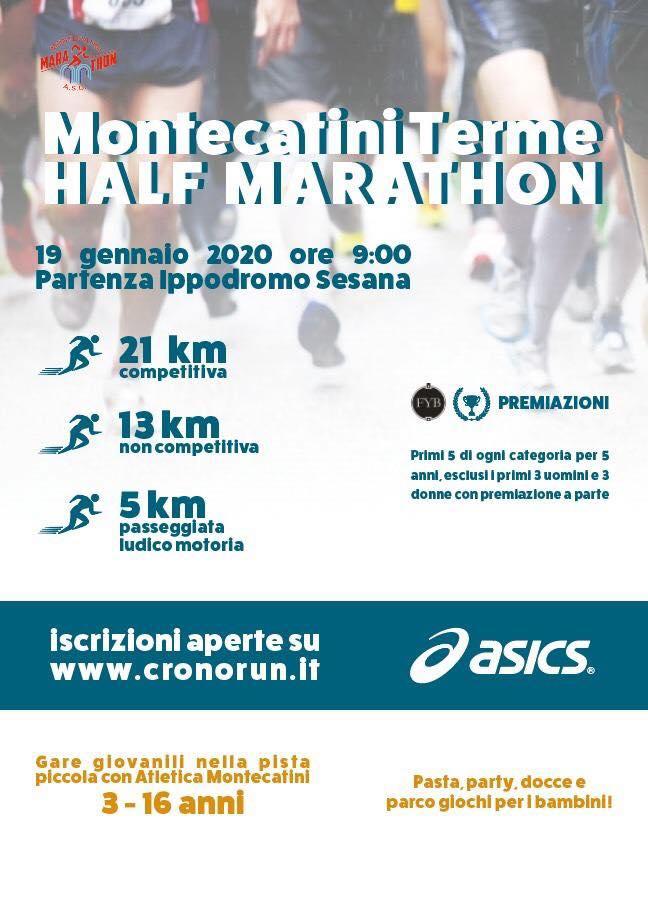 Domenica 19 gennaio si corre la terza edizione della ''Montecatini Half Marathon''