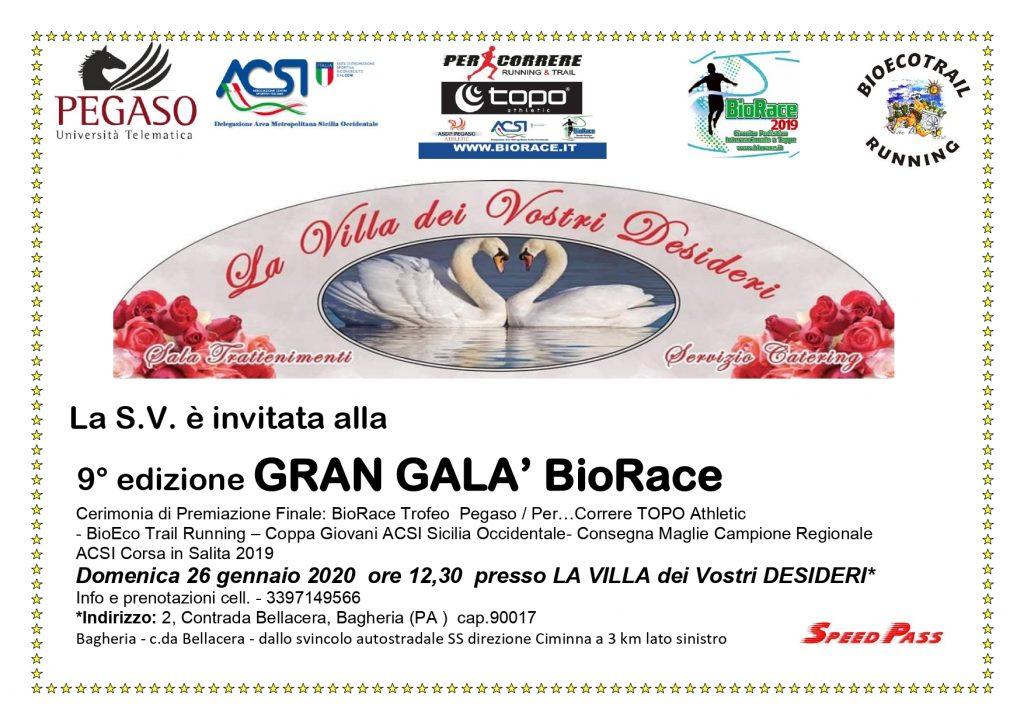 Tutto pronto per la nona edizione del Gran Galà BioRace in scena domenica 26 gennaio 2020