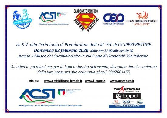 Domenica 02 febbraio 2020 a Palermo la cerimonia di premiazione della terza edizione SuperPrestige ACSI S.O.