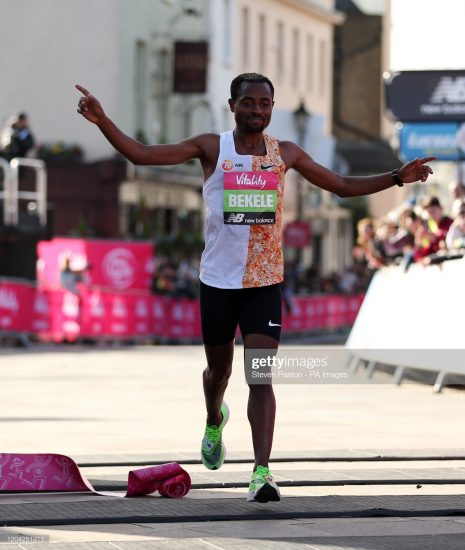 Kenenisa Bekele wins the men's race during the Vitality Big Half in London. (Photo by Steven Paston/PA Images via Getty Images)