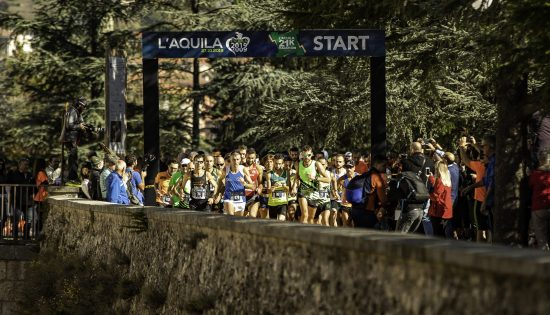 La partenza della Mezza Maratona Città dell'Aquila