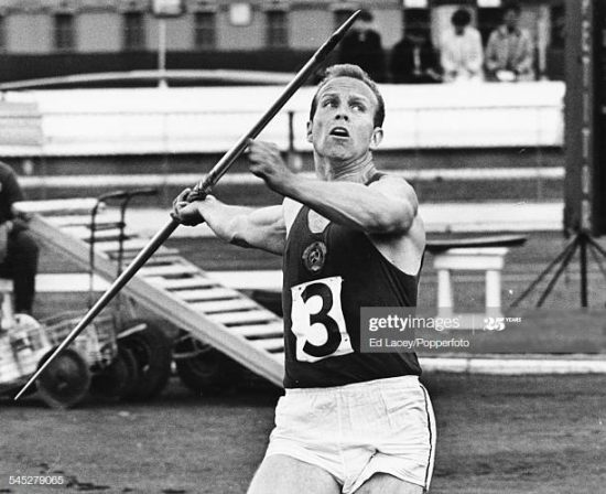 Latvian and Soviet athlete Janis Lusis competing in the javelin event, June 19th 1966. (Photo by Ed Lacey/Popperfoto via Getty Images/Getty Images)