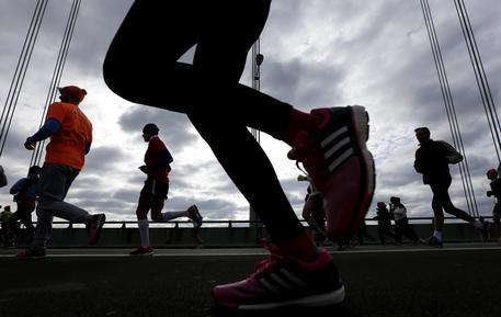 epa04473459 The first wave of runners make their way across the Verrazano Bridge at the start of the 2014 New York City Marathon in New York, New York, USA, 02 November 2014. EPA/ANDREW GOMBERT