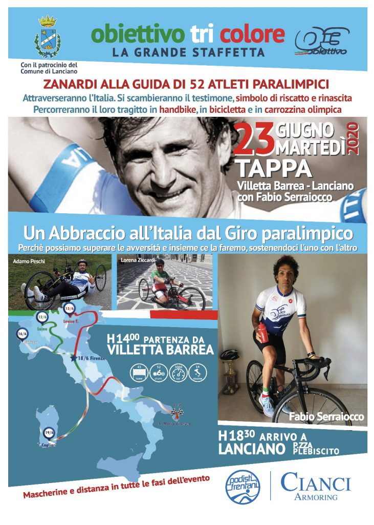 Paraciclismo -- Podisti Frentani: a Lanciano grandi preparativi per accogliere Obiettivo Tricolore, la staffetta paralimpica degli atleti di Alex Zanardi