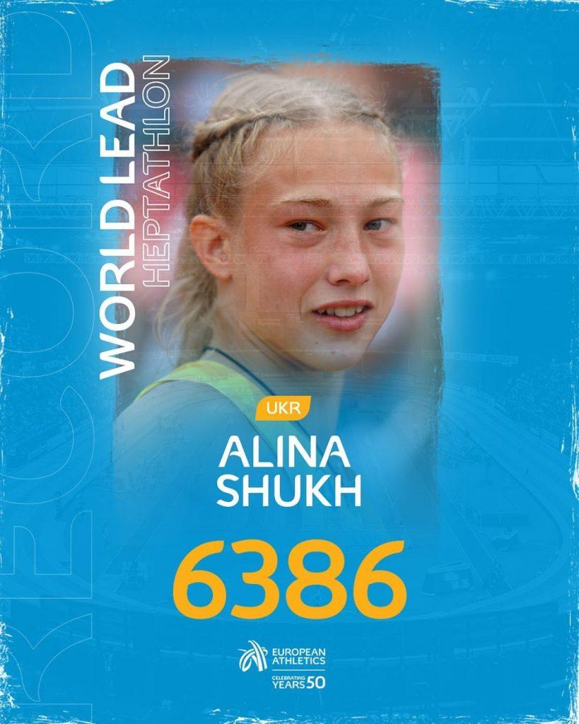Eptathlon: la giovane 21enne ucraina Shukh realizza la miglior prestazione mondiale con 6386 punti a Lutsk
