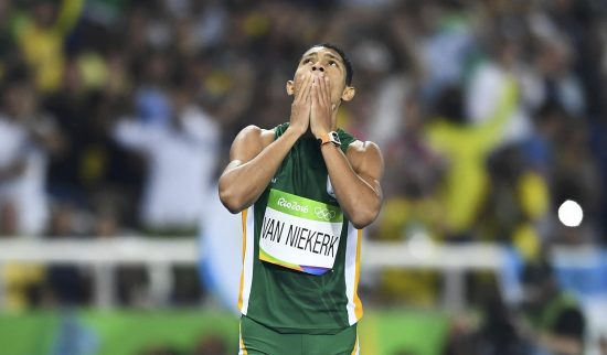 2016 Rio Olympics - Athletics - Final - Men's 400m Final - Olympic Stadium - Rio de Janeiro, Brazil - 14/08/2016. Wayde van Niekerk (RSA) of South Africa reacts after winning the final.    REUTERS/Dylan Martinez  TPX IMAGES OF THE DAY  FOR EDITORIAL USE ONLY. NOT FOR SALE FOR MARKETING OR ADVERTISING CAMPAIGNS.   - RTX2KUR9