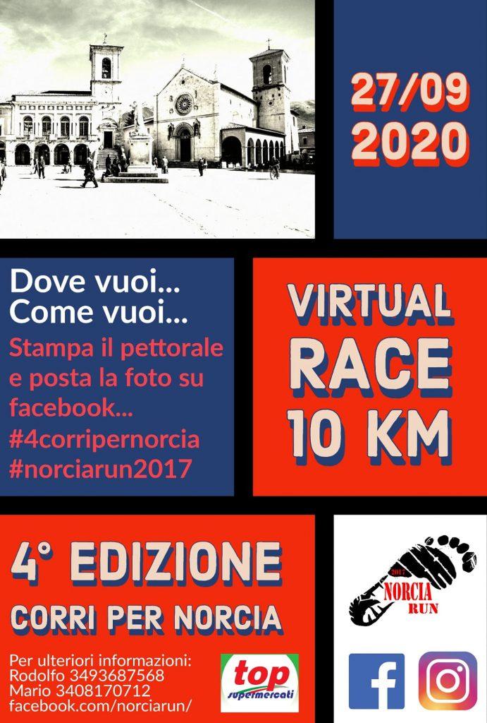 La quarta edizione della Norcia Run diventa Virtual Race, appuntamento sui social il 27 settembre