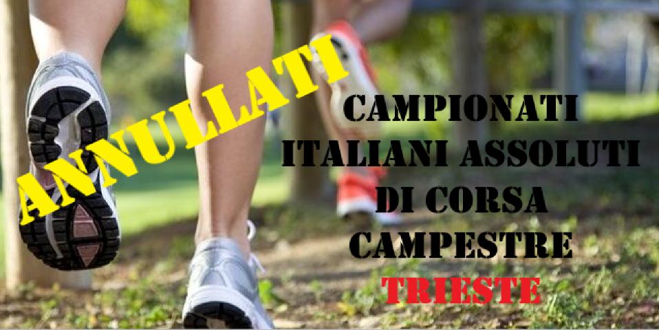 Cross, annullati i campionati italiani assoluti di Trieste