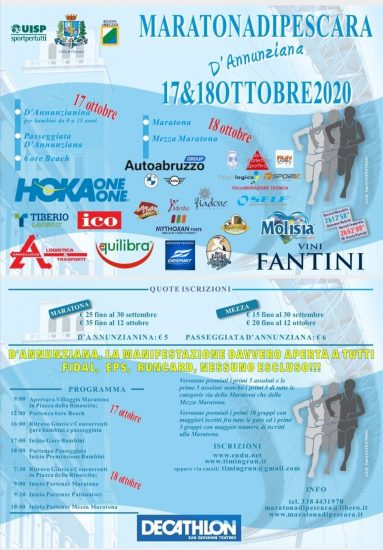 Maratona di Pescara D'Annunziana 18102020 locandina