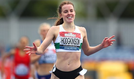 MANCHESTER, ENGLAND - SEPTEMBER 05: In this handout image provided by British Athletics, Keely Hodgkinson of Great Britain crosses the line to win the Women's 800 Metres during Day Two of the Muller British Athletics Championships at Manchester Regional Arena on September 05, 2020 in Manchester, England. (Photo by British Athletics - Handout/British Athletics via Getty Images)
