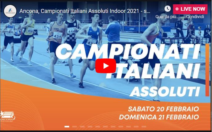 Assoluti indoor Ancona: oggi la prima giornata, LA DIRETTA STREAMING