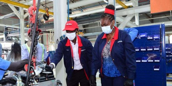 Isuzu D-Max Brand Ambassador and World Marathon Record Holder Eliud Kipchoge(left) and Isuzu East Africa MD Rita Kavashe on October 22, 2020 during the tour the Isuzu D-Max production and assembly line and signing of a new two year partnership agreement with Isuzu SALATON NJAU (NAIROBI)