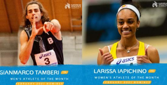 Gianmarco Tamberi e Larissa Iapichino candidati per l'atleta europeo del mese