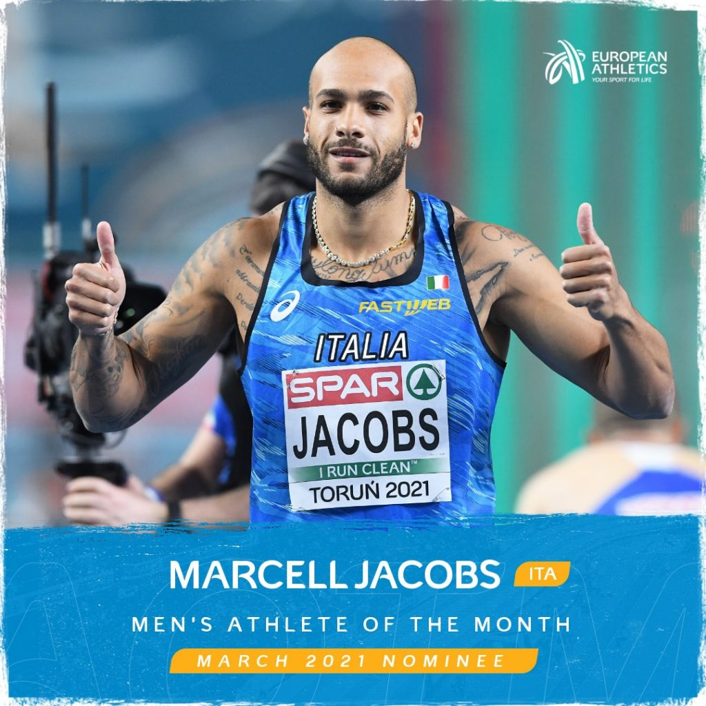 """Marcell Jabcobs in lizza per il """"Miglior atleta europeo di Marzo"""""""