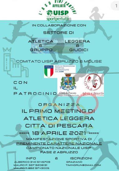 Meeting di Atletica Leggera Città di Pescara 18042021 locandina