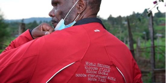 Legendary athlete Henry Rono, shows the four World Records he broke when he was an active athlete, during an interview at his home in Kaptargon village, Nandi County on April 07, 2021. JARED NYATAYA (Eldoret).