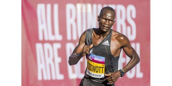Kenya's Kibiwott Kandie competes during the half marathon race in Prague, Czech Republic, on September 4, 2020. PHOTO/ RUNCZECH
