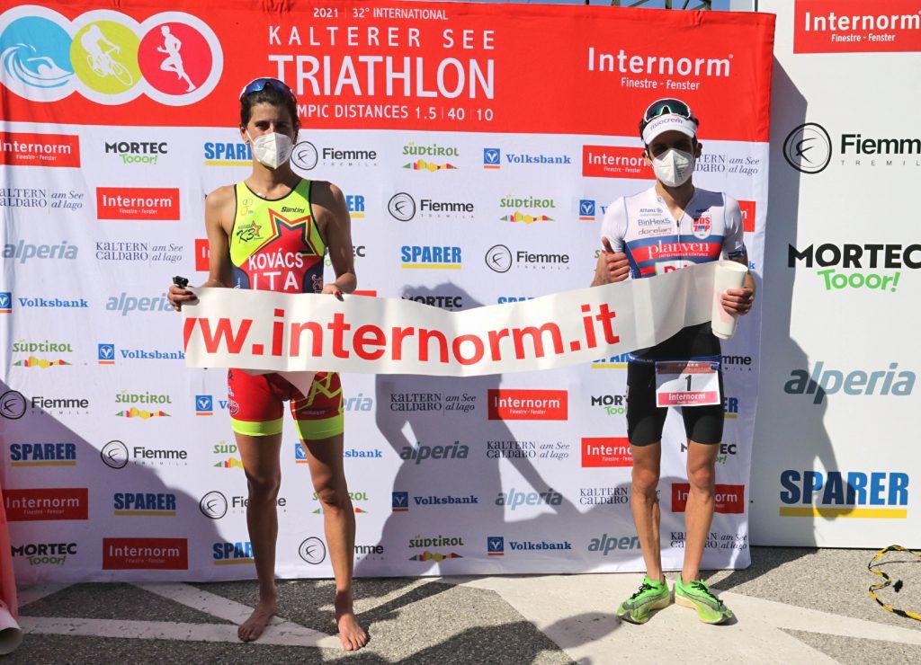Michele Sarzilla e Zsofia Kovacs sono i vincitori della 32.a edizione del Triathlon del Lago di Caldaro