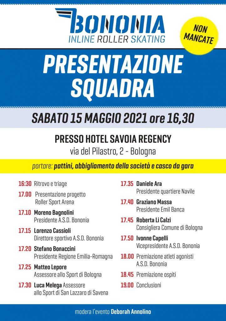 """CS_ Pattinaggio, presentazione SAB 15 MAG """"Bononia"""" e """"Roller Sport Arena - Intervengono: Bonaccini e Lepore"""