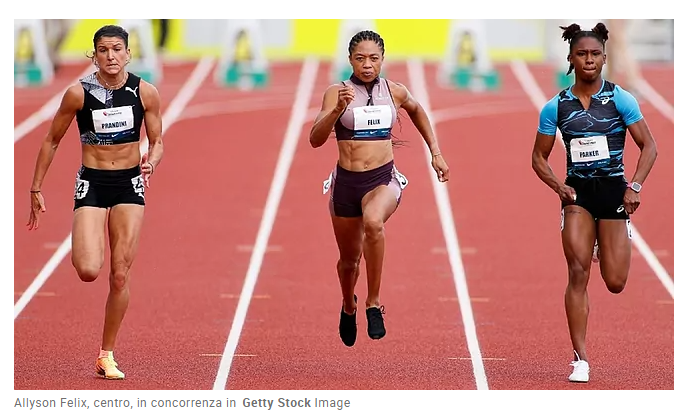 Allyson Felix corre i 400 metri in 50.88 a 35 anni