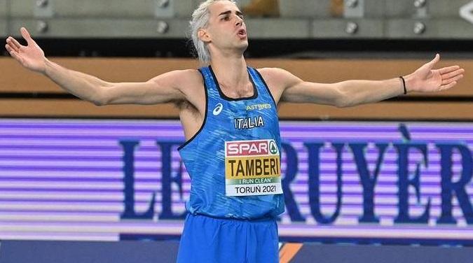 Gianmarco Tamberi in gara domenica 27 giugno a Leverkusen (Germania)