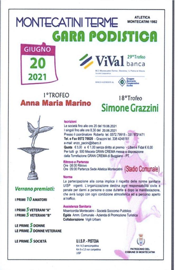 """Domenica 20 Giugno si corre il """"Trofeo Vival Banca-Trofeo Simone Grazzini -Anna Maria Marino"""""""