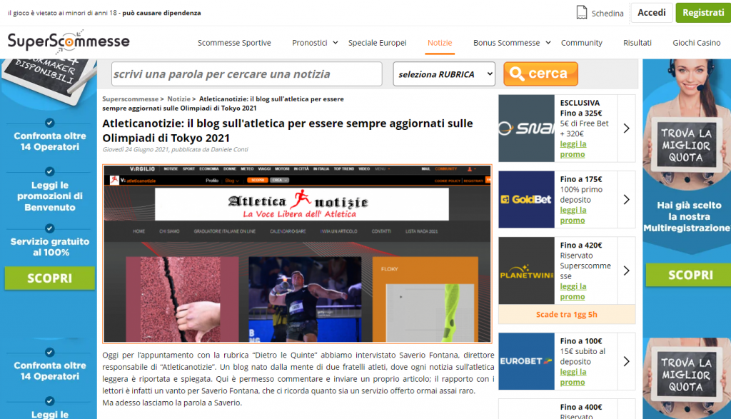 SuperScommesse intervista Atleticanotizie