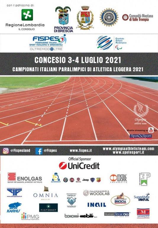 Olympia Athletic Team a Concesio organizza il 3-4 luglio i Campionati Italiani Paralimpici di Atletica Leggera