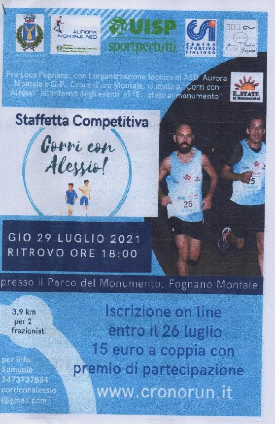"""La """"Corri con Alessio"""" in programma il 29 luglio"""