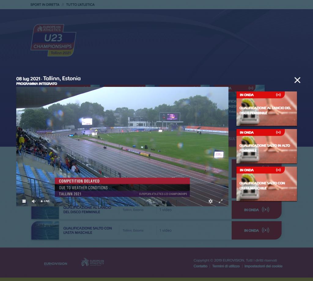Europei U23 Tallin: nei 400 femminili le 3 azzurre passano il turno, la pioggia interrompe le gare