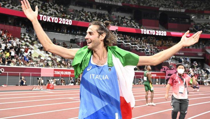 Gianmarco Tamberi in gara a Rovereto il 31 agosto da Campione olimpico