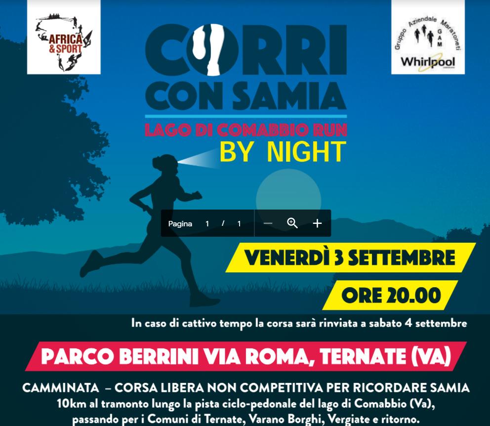 """Venerdì 3 settembre la prima edizione """"by night"""" della CORRI con SAMIA – Lago di Comabbio Run"""