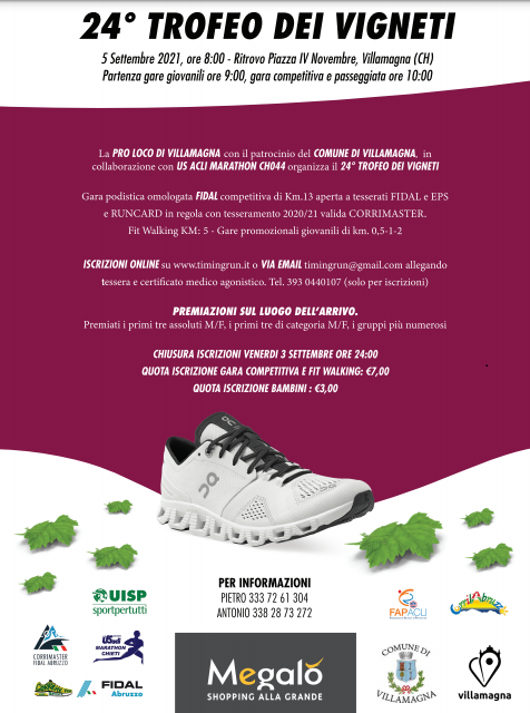 Villamagna ritrova il Trofeo dei Vigneti, la 24°edizione della classica podistica il 5 settembre