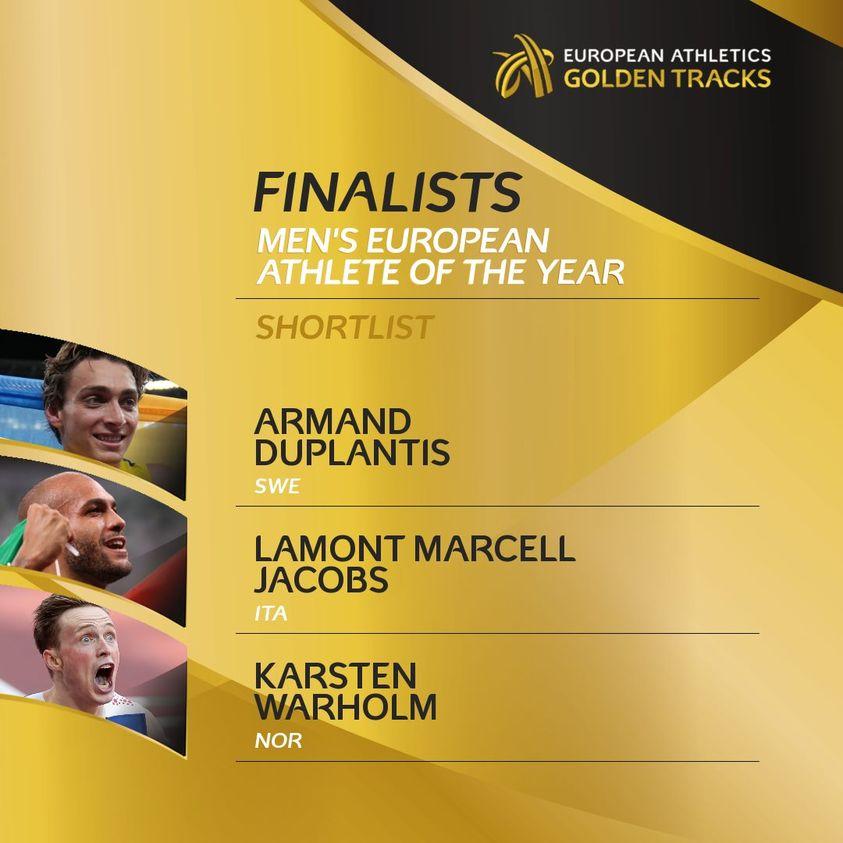 Marcell Jacobs  sfida Duplantis e Warholm per il titolo di  miglior atleta europeo 2021