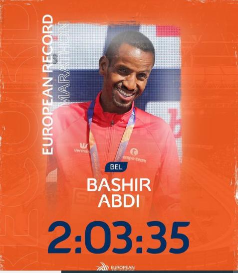 Storico Record Europeo nella Maratona di Bashir Abdi - IL VIDEO